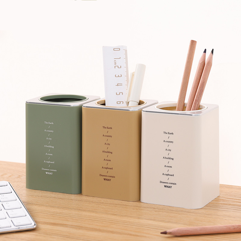 1pc Desktop Square Pen Holder Desk Organizer Box Office School Cute Plastic Makeup Organizer Storage Box Pen Pencil Pot Cosmetic