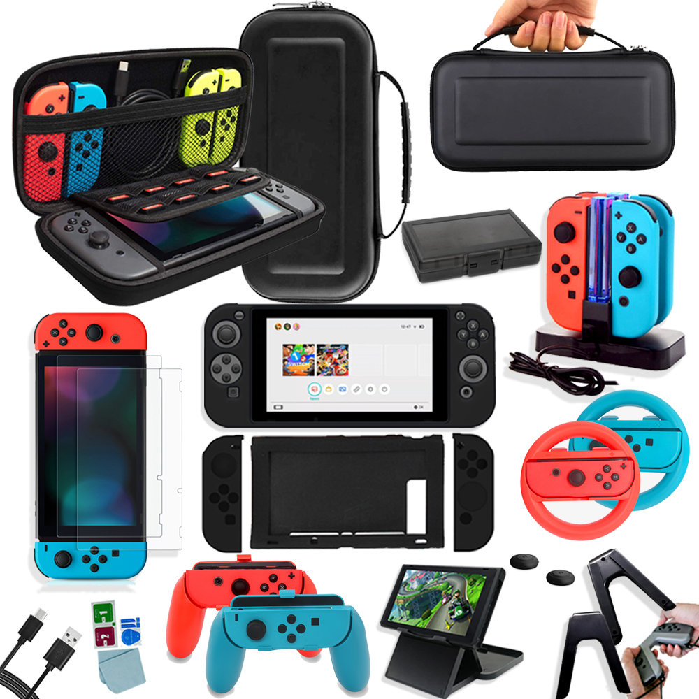 Game Accessories Set For Nintendo Switch Travel Carrying Bag Joycon Protective Cover Charging Dock Screen Protector NS Bracket