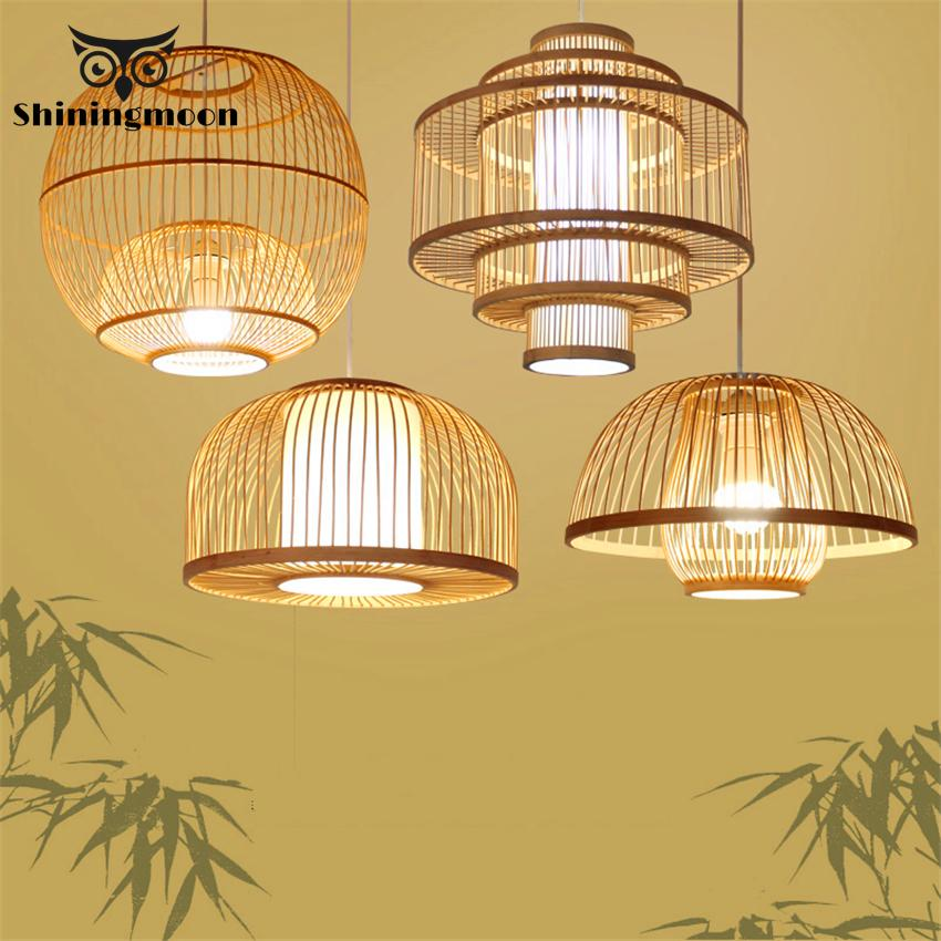 Chinese Bamboo&wooden Pendant Lights Retro Warm Light Hanging Lights Cafe Deco Lustre Living Room Bedroom Loft Light Fixtures