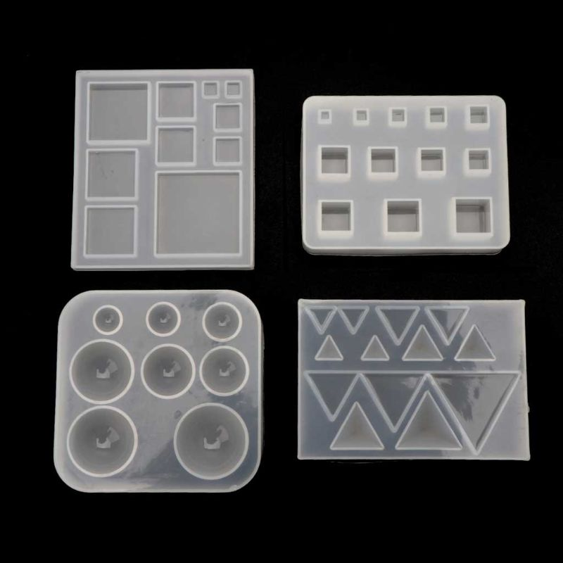 4pcs/set DIY Geometric Resin Silicone Mold All Size Square Round Triangle Shape Jewelry Tools Epoxy Resin Mold