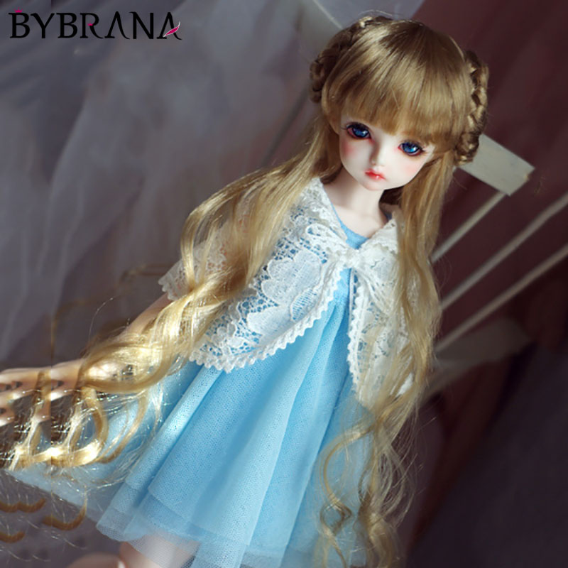 Bybrana BJD Doll Doll Imitation Mohair Wig 1/3 1/4 1/6 Giant Baby Light Gold Brown Long Curly Hair
