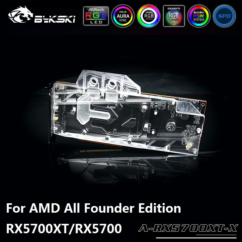 Bykski GPU Water Block for AMD All Founder Edition RX5700XT/RX5700 Full Cover Graphics Card water cooler