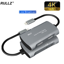 4K TV Loop Mic Input Type C Video Capture Card 1080P USB 2.0 PC Game Recording Box for PS4 XBOX HD Camera Live Streaming Plate