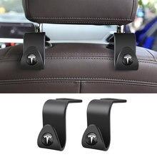 2 pçs assento de carro volta ganchos acessórios portátil pendurado saco rack para tesla modelo 3 x modelo s