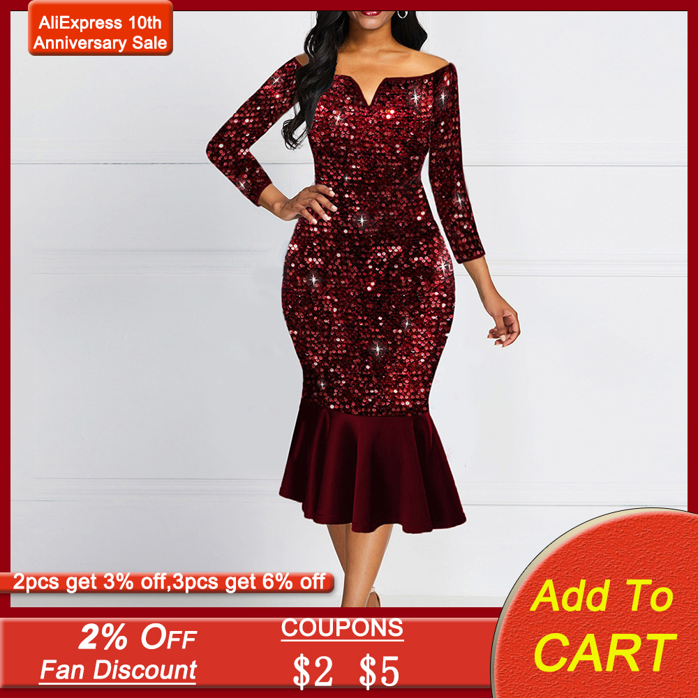 Shiny Evening Off Shoulder Dress Women Bodycon Mermaid Ruffles Burgundy Plus Size Elegant Glitter Sequin Midi Party Dress Ladies