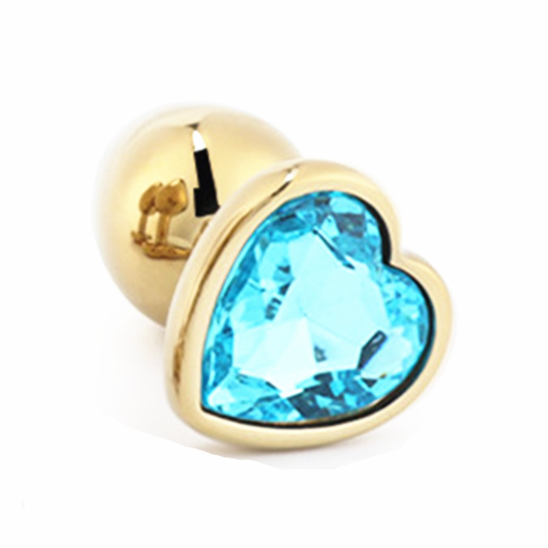 Image 2 - Gold Color Heart shaped Metal Anal Plug With Gem Two Size Butt Plug You Can Choose Anal Sex Toy Sex Product For Women Men Gay-in Anal Plug from Beauty & Health