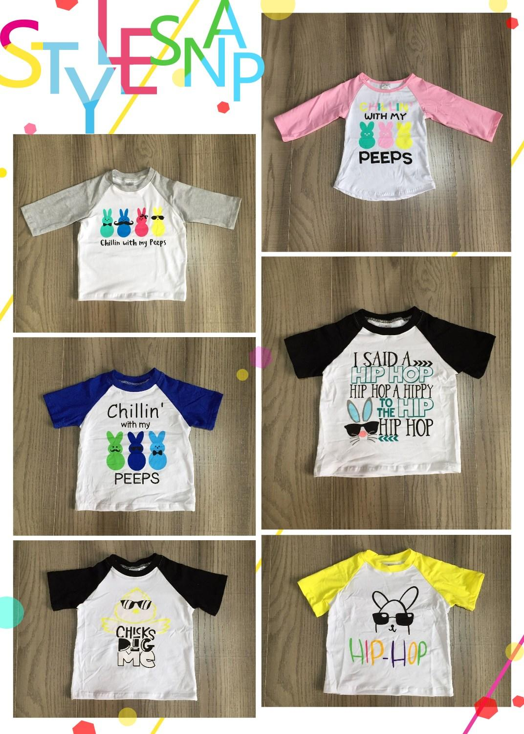 Baby Kids Easter Clothes Boys/girls Spring Raglans Children Bunny Clothing Wholesale