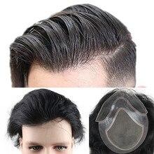 Eseewigs insan saçı erkek peruk doğal siyah renk düz avrupa Remy saç İsviçre dantel ön peruk cilt ince PU el yapılan