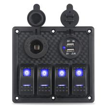 Waterproof Dual USB Socket + Cigarette Lighter 4 Gang Switch Panel Safe for RV Yacht Marine Boat Car Truck Overload Protection
