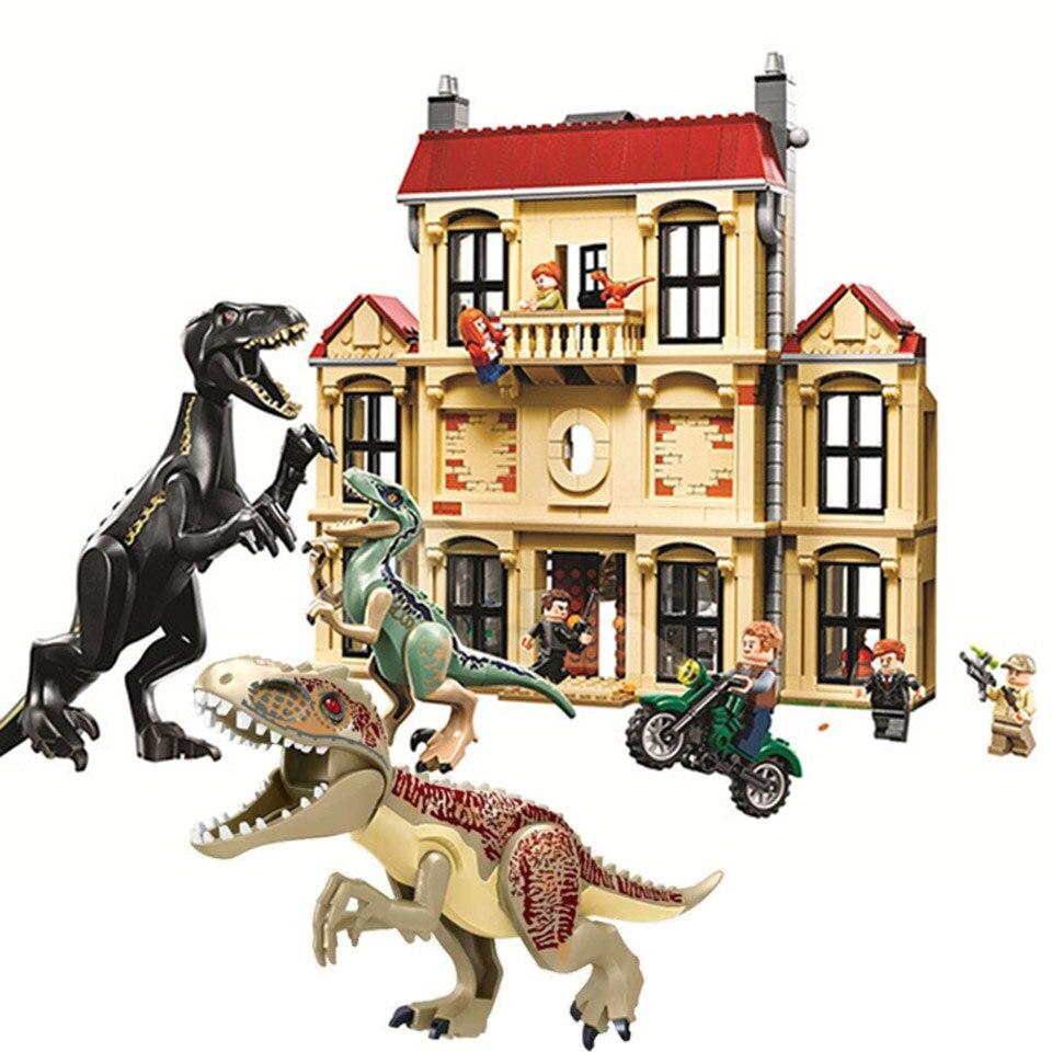 В наличии с изображением динозавра из фильма «Парк Юрского периода»; Indoraptor буйство в доме локвудов модели, строительные блоки, игрушки для д...