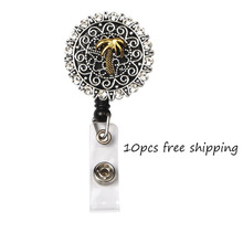 10pcs/lot New Arrival Ancient Plam Tree Flower Badge Holder Retractable Pull Reel
