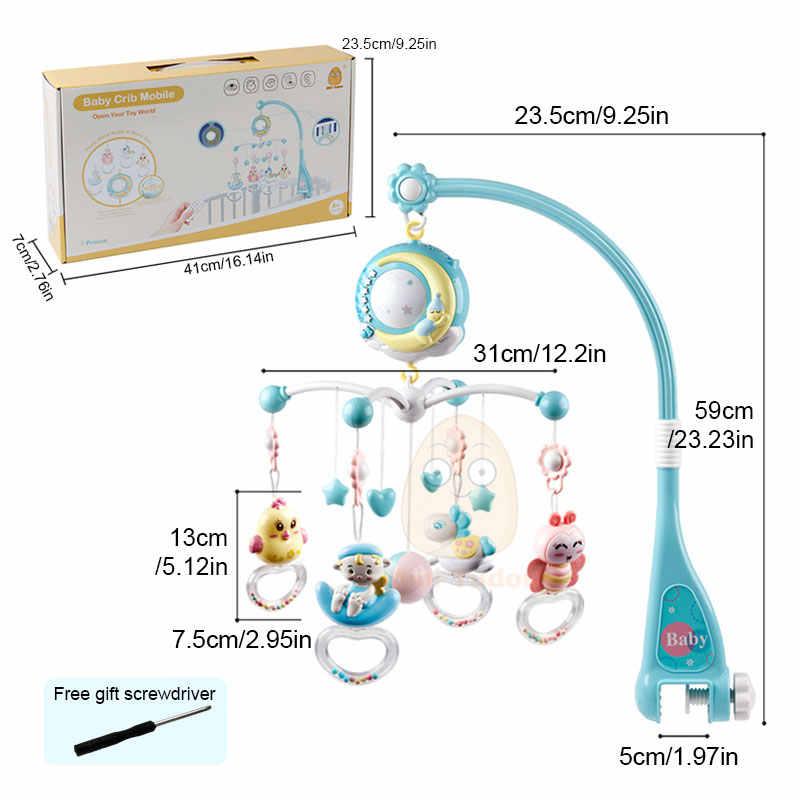 Chocalhos do bebê, berço celulares, brinquedo, titular, girando móvel cama sino musical caixa de projeção 0-12 meses recém-nascido, bebê brinquedos de menino