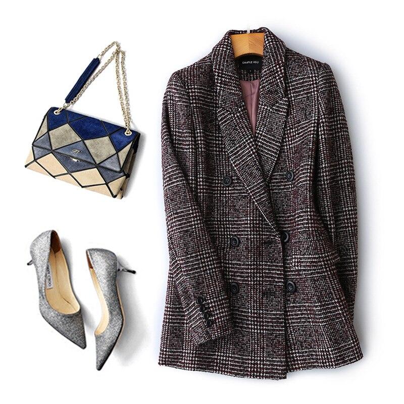 Frauen Plaid Blazer Britischen stil herbst lose plaid jacke verdickung kaschmir temperament retro woolen kleine anzug weibliche
