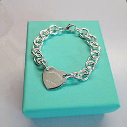 1: 1 sterling silver 925 classic silver heart pendant ladies bracelet jewelry holiday gift