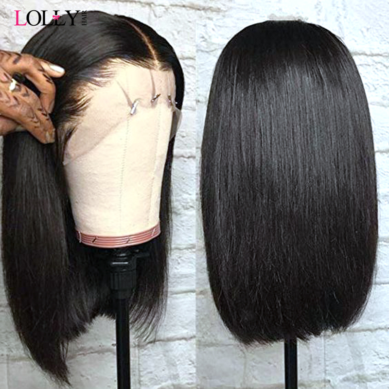13x4 Lace Short Bob Wigs 130% Brazilian Remy Hair Can Be Dyed Lace Front Human Hair Wigs Pre-Plucked Bleached Knots Lolly Hair