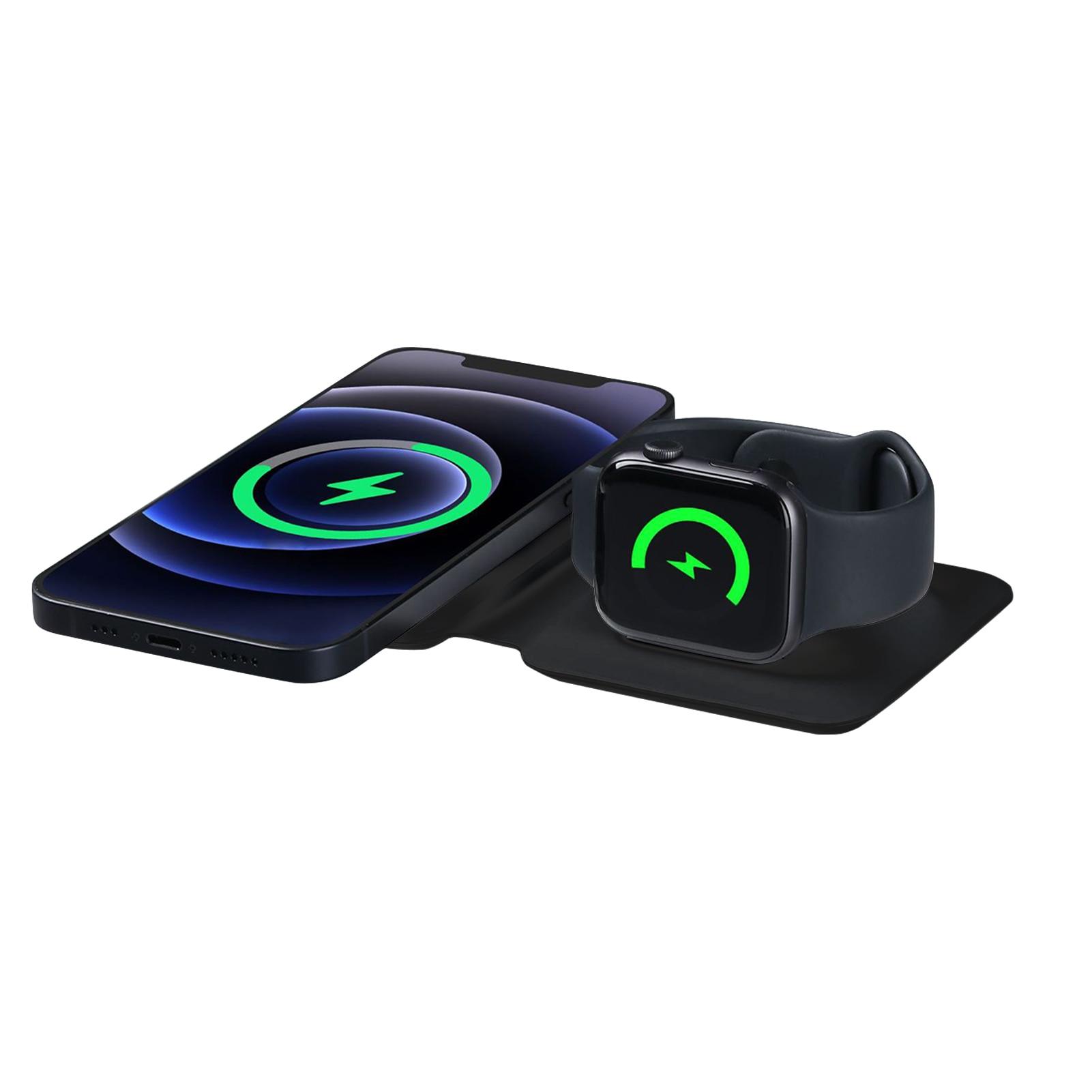 Новинка 2 в 1 двойное магнитное Беспроводное зарядное устройство для IPhone12 /Pro Max/Mini зарядное устройство 15 Вт Быстрая зарядка для AirPods Watch