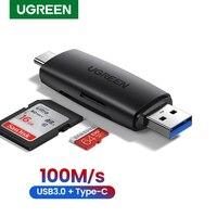 UGREEN-lector de tarjetas USB tipo C, adaptador USB 3,0 a SD, Micro SD, TF, para PC, portátil, teléfono, OTG, lector de tarjetas de memoria inteligentes