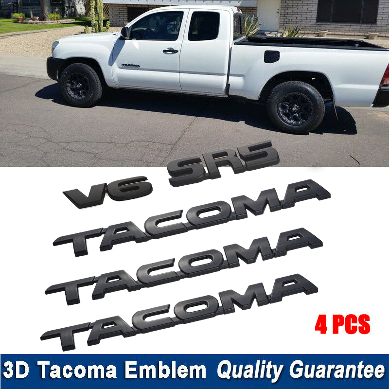 A Set Of 2x Tacoma Emblem 1x V6 Auto Emblem Decal Replacement For Tacoma Side Door Tailgate Car Logo Badge Sticker 2005-2015 Black