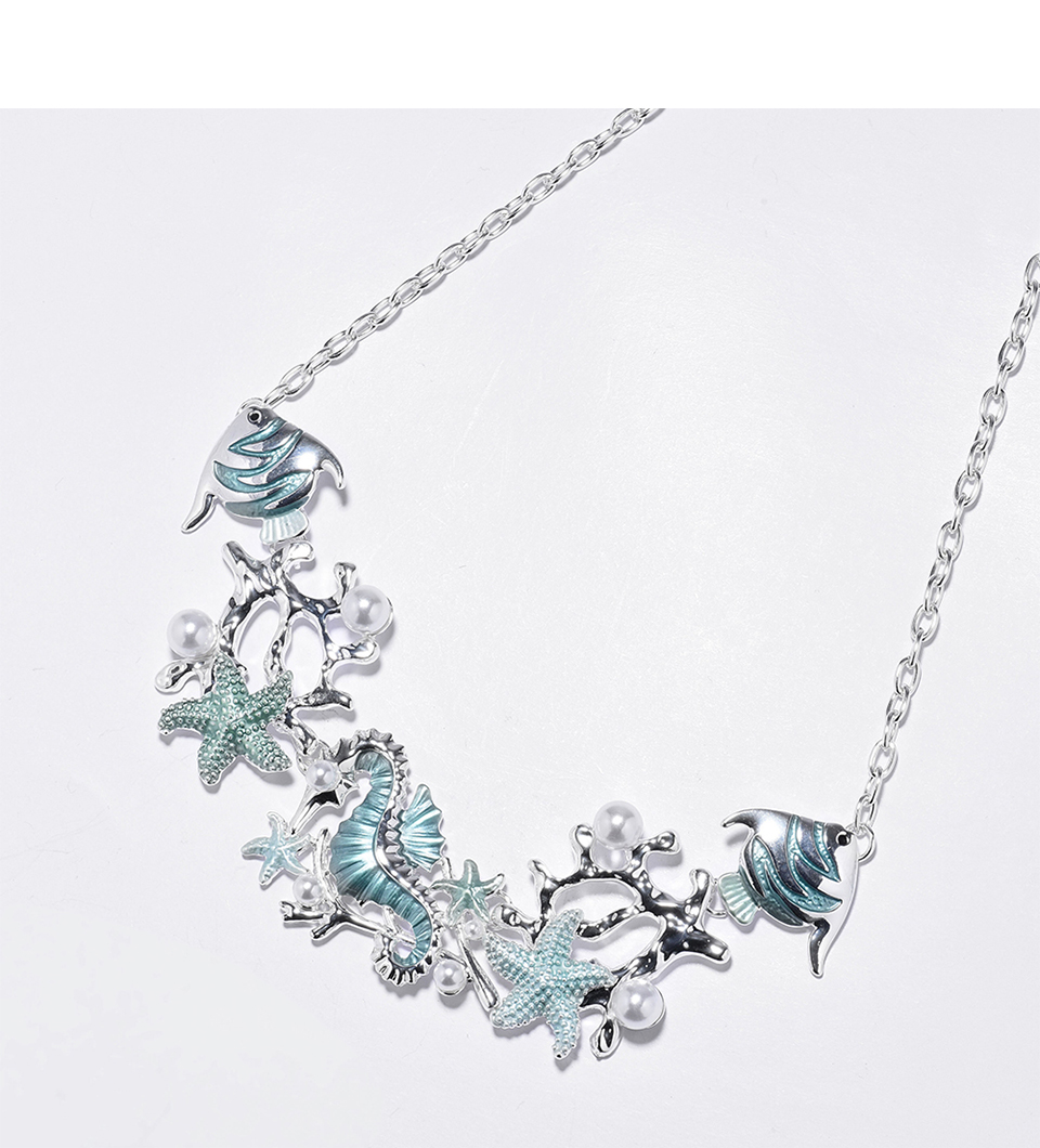 2020 Marine Life Necklace Feature Fish Starfish Seahorse Chain Necklaces Sea Life