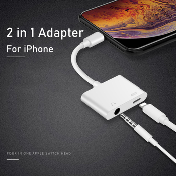 For IPhone 11pro Adapter 2 In 1 for Apple IPhone XS MAX XR X 7 8 Plus 3.5mm Jack Earphone Adapter Aux Cable for IOS 12