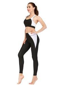 Fitness Leggings Sportswear Yoga-Sets Gym Patchwork Slimming Women Push-Up Bra S-XL Sexy