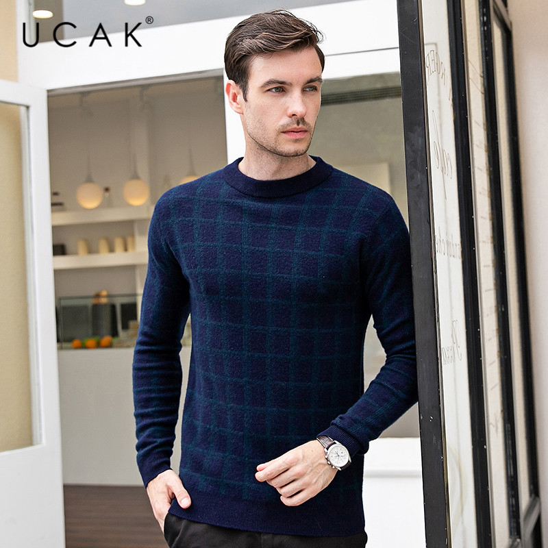 UCAK Brand Sweater Men Casual Striped Pull Homme O-Neck Pullover Pure Merino Wool Men Autumn Winter Warm Cashmere Sweaters U3094