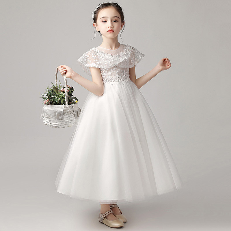2019 Performance Lace Princess Dress Wedding Long Dress First Communion Girls Flower Ball Gown Children Clothing Vestidos