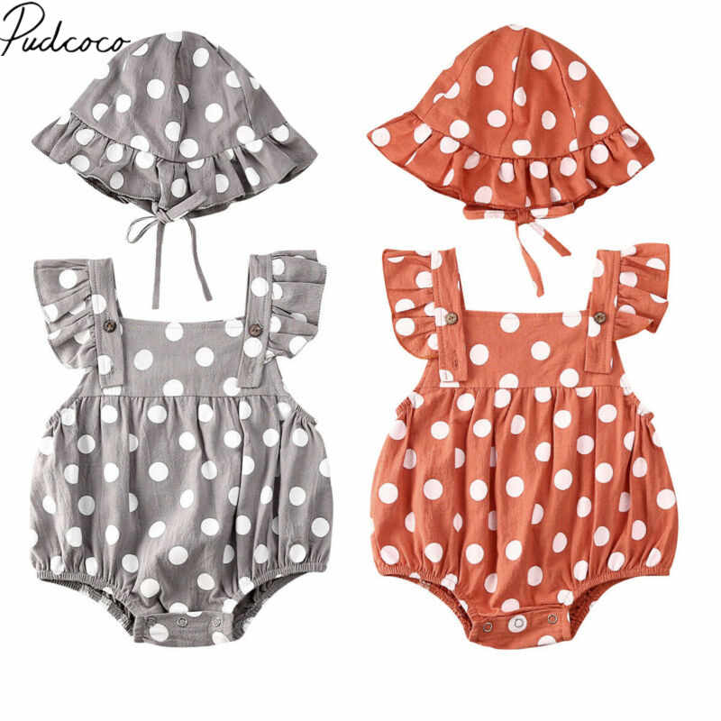 2020 Baby Summer Clothing Newborn Toddler Infant Baby Girl Hat Jumpsuit Bodysuit Dots Print Clothes Sunsuit