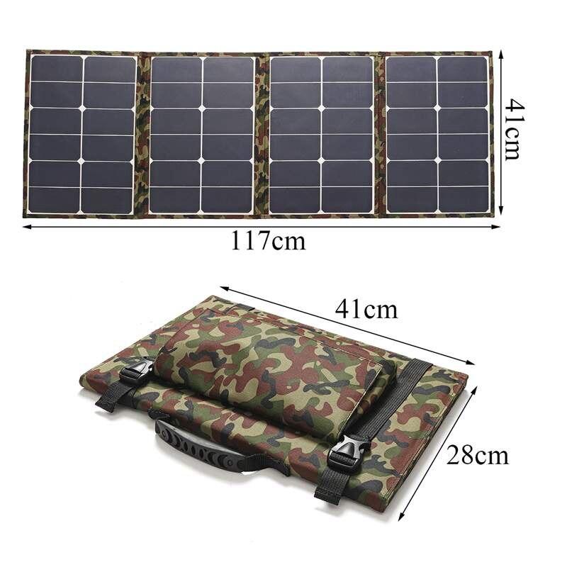 Al aire libre 120W 18V Panel Solar plegable Cargador Solar Camping cargador de batería Solar para ordenador de teléfono móvil - 3