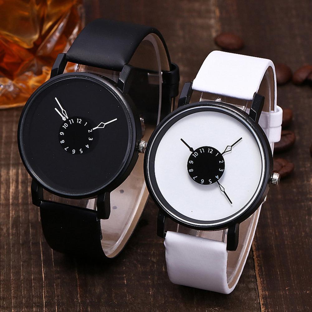 Fashion Simple Vintage Minimalist Women Watches Round Dial Faux Leather Strap Arabic Number Quartz Wrist Watch