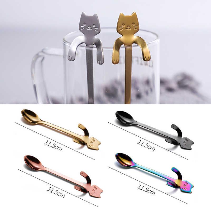 304 Stainless Steel Lucu Kartun Kucing Gantung Cangkir Kopi Sendok Es Krim Makanan Penutup Sendok Teh Kreatif Menggantung Sendok Peralatan Makan