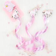 ncmama Glitter Unicorn Hair Bows for Girls Shiny Sequin Clips with Wig Cartoon Hairgrips Princess Party Kids Headwear