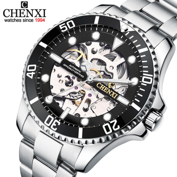 CHENXI Watch Automatic Mechanical Watches Man Wristwatches Men's Mechanical Watch Male Black Hollow out Clock Relogio Masculino