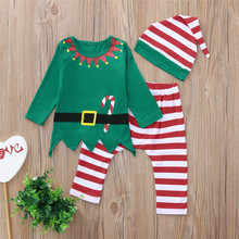 цена на Christmas Baby Clothing  Infant Kids Baby Boy Girl T shirt Tops+Striped Pants Outfits Set #23