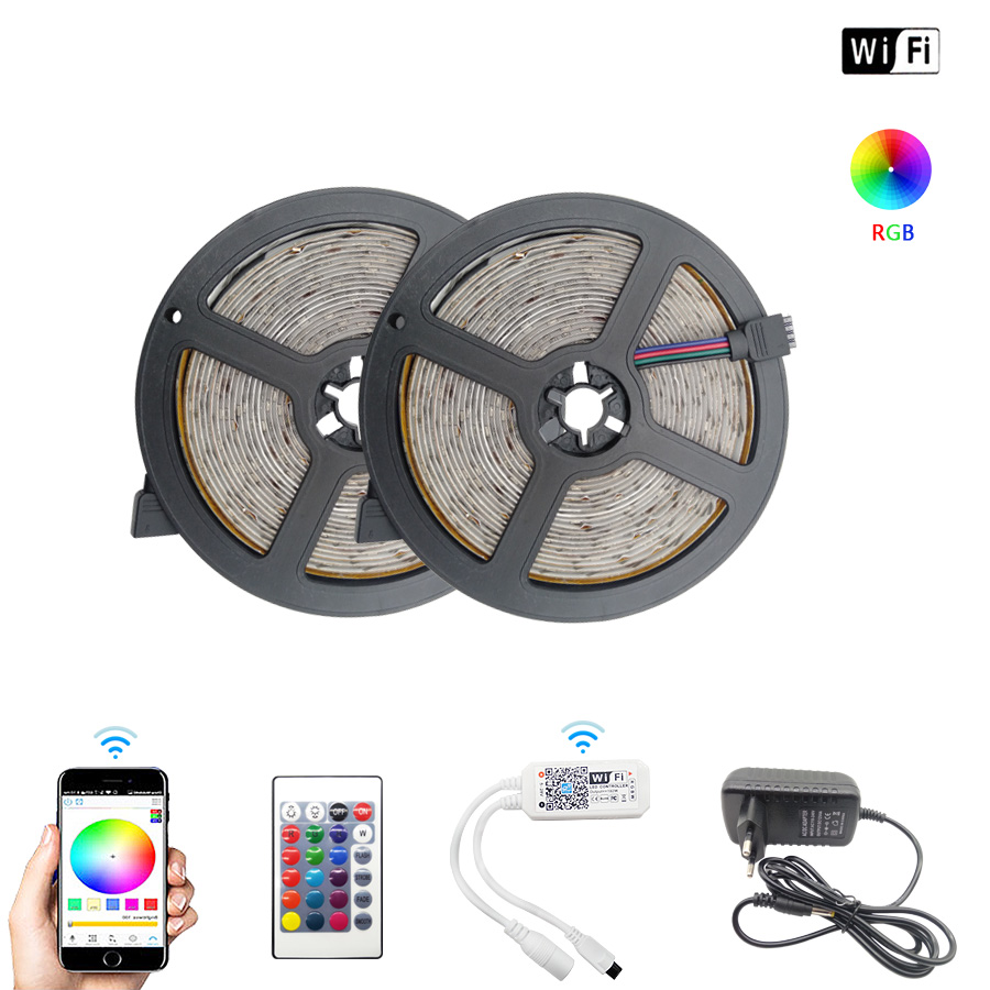 5m 10m 15m DC 12V LED Strip 2835 RGB Waterproof WiFi Flexible Diode Tape Ribbon Fita Tira LED Light Strips With Remote + Adapter