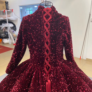 Image 5 - J66991 Jancember Formal Dress For Teenagers High Neck Long Sleeve Sequined Red Quinceanera Dresses 2020