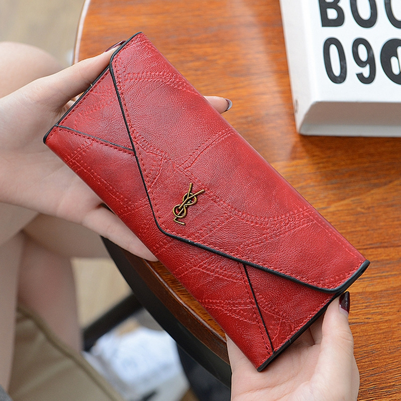 Women's Ladies Wallet Female Long Coin Purse Korean Zipper Buckle Pu Leather Wallets Vintage Coin Holder For Girl Female