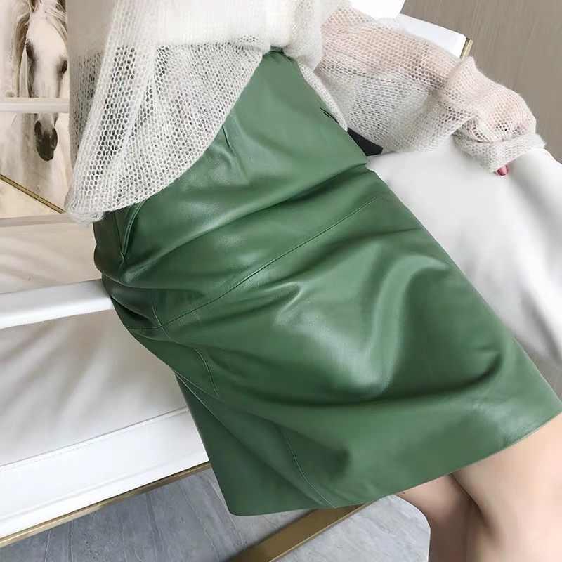 Leder rock frauen mit taschen midi röcke frauen 2019 echtes schwarz und grün schaffell leder bleistift rock hohe taille