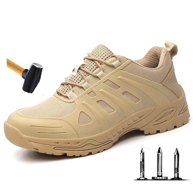 Защитная обувь для мужчин и женщин, легкие рабочие кроссовки со стальным носком, защита от ударов, дышащие, износостойкие