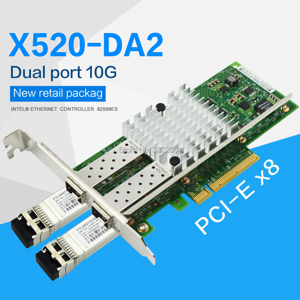 X520-DA2 10G SFP+ dualport PCIe 2.0 x8 Intel 82599ES Chip Ethernet Network Adapter-Including two 10g multimode modules(China)