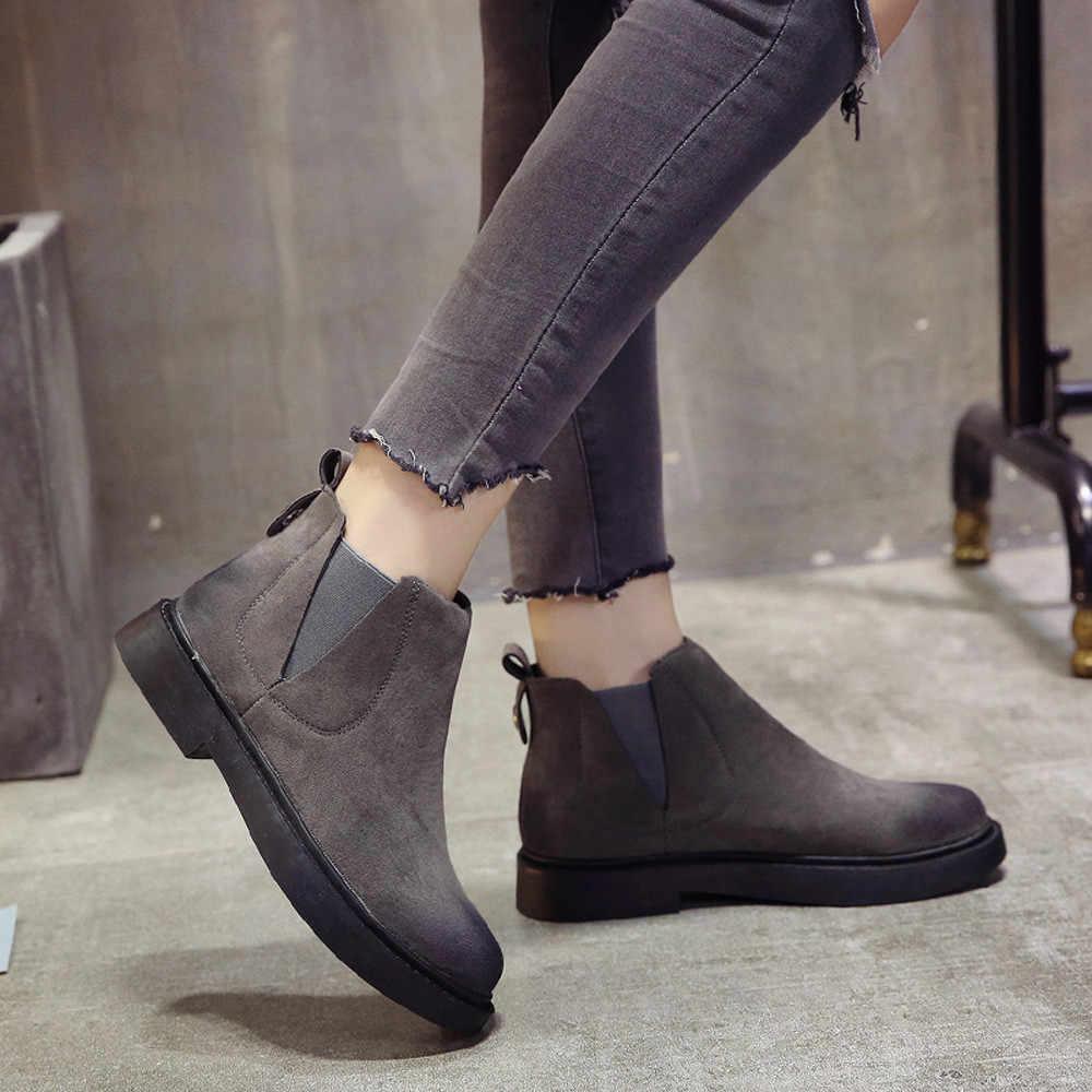 Süet Martin kısa çizmeler Kadınlar Rahat Yuvarlak Ayak Düz Slip-On Katı Renk Avrupa Tarzı Kış Ayakkabı Kadın zapatos de mujer