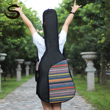 40 41 Inch Guitar Bags Waterproof Nylon Guitar Case Double Straps Pad Cotton Thickening Backpack Knitted Guitar Storage XA131M