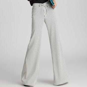 2020 New Black and White Vertical Stripes Fall Wide Leg Pants Female Trousers High Waist Suit Straight Pants Streetwear Clothes