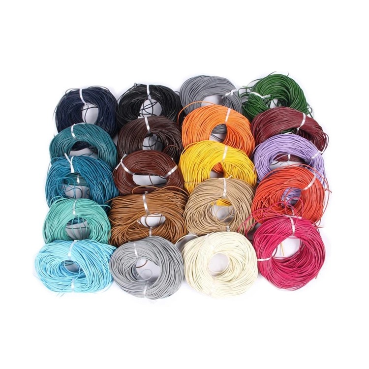 10m/lots 1mm Round Leather Wax Cord Thread Rope Cotton Cord Jewelry Making Necklace Bracelet Diy Accessories