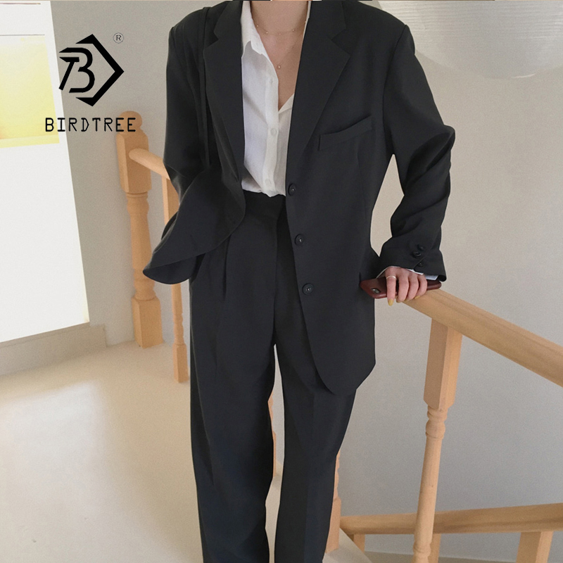 Autumn New Arrival Women Black Solid 2 Piece Set Notched Blazer High Waist Wide Leg Pants Chic Suit Female Korean Style S98903F