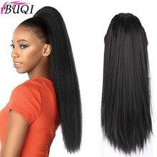 """BUQI 2"""" Кудрявые прямые волосы натуральный цвет с двумя пластиковыми гребнями конский хвост Расширения термостойкие синтетические"""