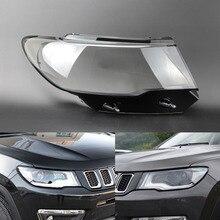 지프 나침반을위한 자동차 헤드 라이트 렌즈 2017 2018 2019 자동차 전조등 커버 교체 자동 쉘 커버