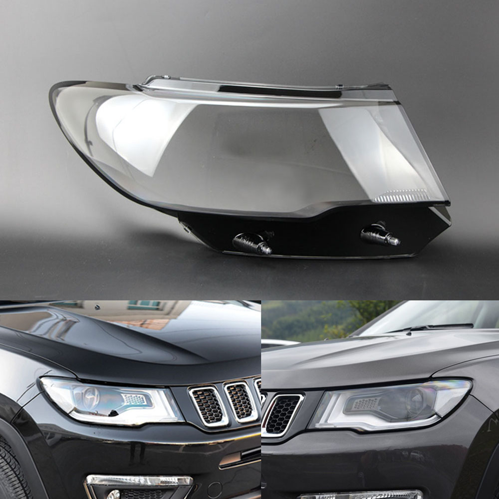 Car Headlight Lens For Jeep Compass 2017 2018 2019  Car Headlamp Cover Replacement   Auto Shell Cover