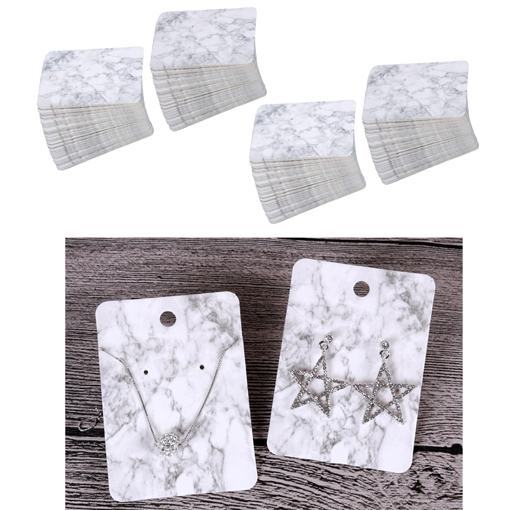 Package Of 200 Pieces Unique Marble Pattern Styles Paper Earring Cards For Jewelry Display