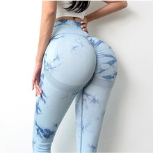 Hot-selling tie-dyed yoga pants, women's high waist, hips, exercise, fitness pants, hips, moisture absorption, sweat, leggings.